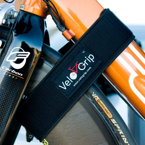 Velcro VeloStrap attachment and bike transport tie down