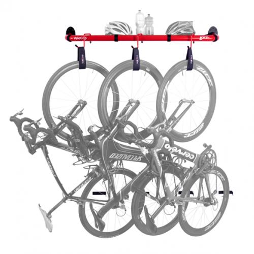 Loft bike rack in red saving space