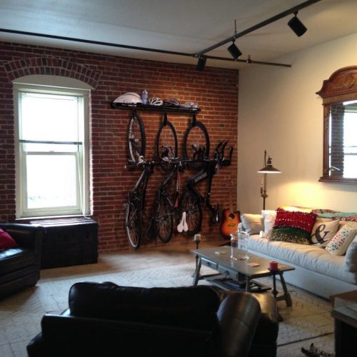 Loft bike rack is home decor